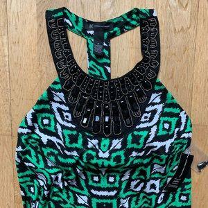 INC embellished neck pattern dress
